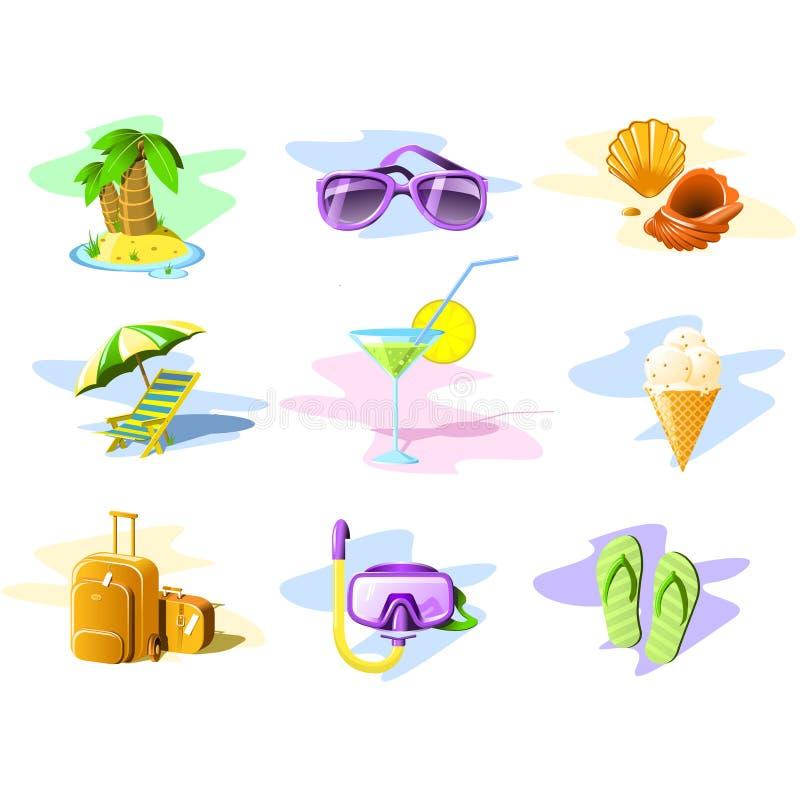 Iconos del recorrido y de las vacaciones stock de ilustración
