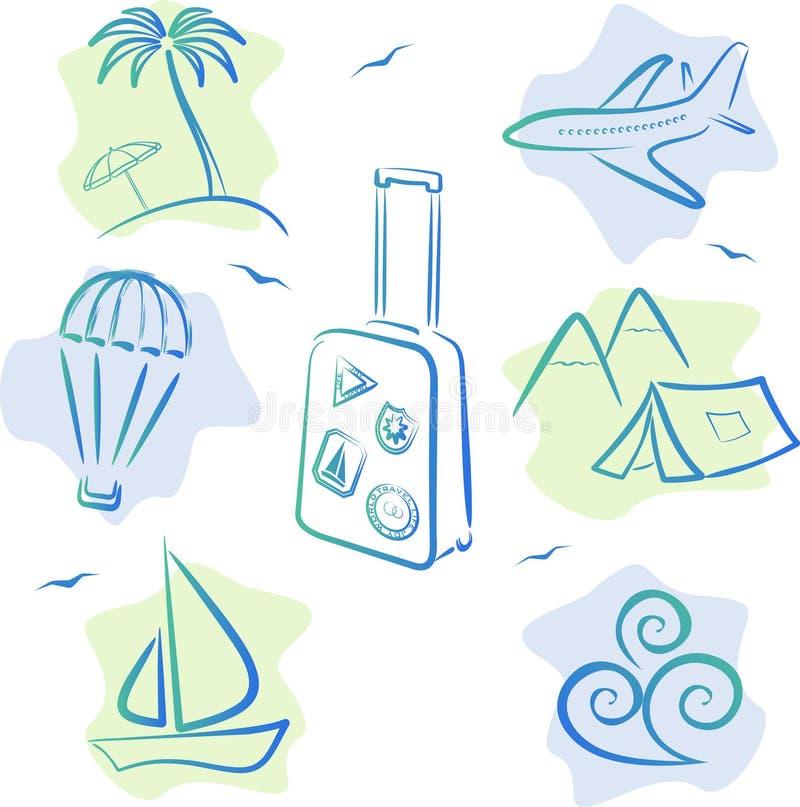 Iconos Del Recorrido Y Del Turismo Fotos de archivo
