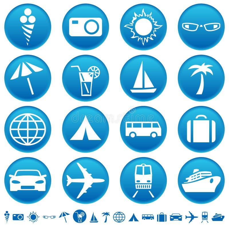 Iconos del recorrido y del turismo libre illustration