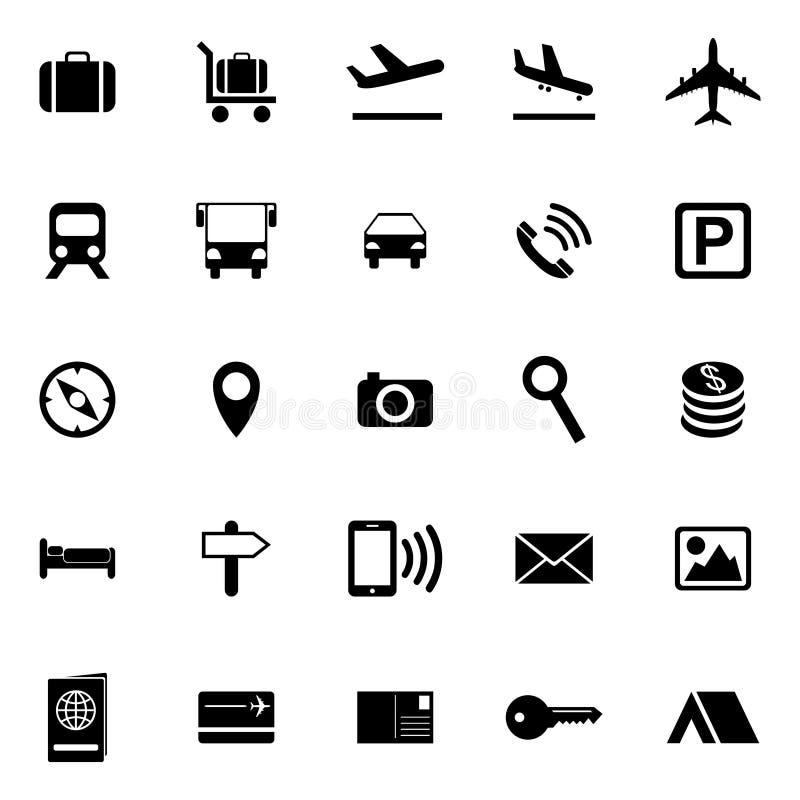 Iconos del recorrido y del turismo stock de ilustración