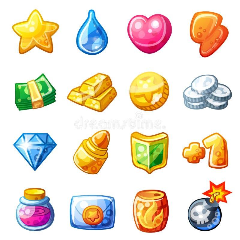 Iconos del recurso de la historieta para la interfaz de usuario del juego libre illustration