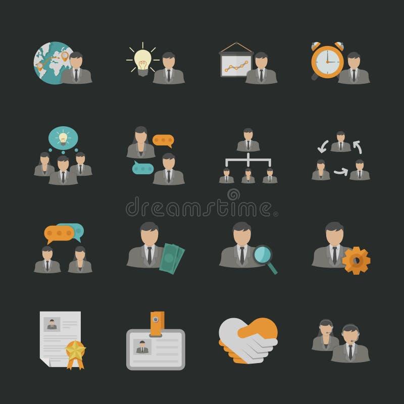 Iconos del recurso humano con el fondo negro libre illustration