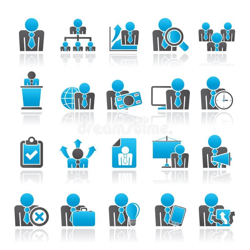 Iconos del recurso humano y del negocio stock de ilustración