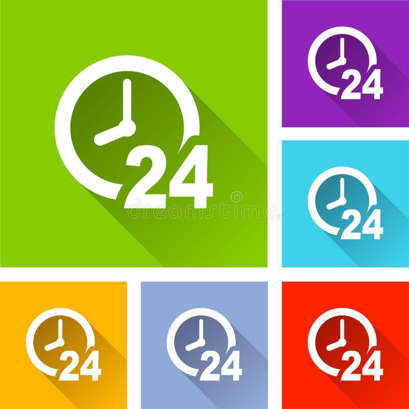 Iconos del reloj con la sombra larga stock de ilustración