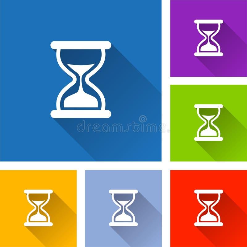Iconos del reloj de arena con la sombra larga stock de ilustración