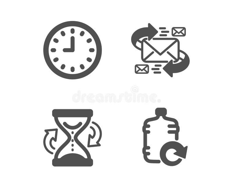 Iconos del reloj de arena, del email y del reloj Muestra del agua del repuesto Reloj de la arena, comunicación por las letras, ti ilustración del vector