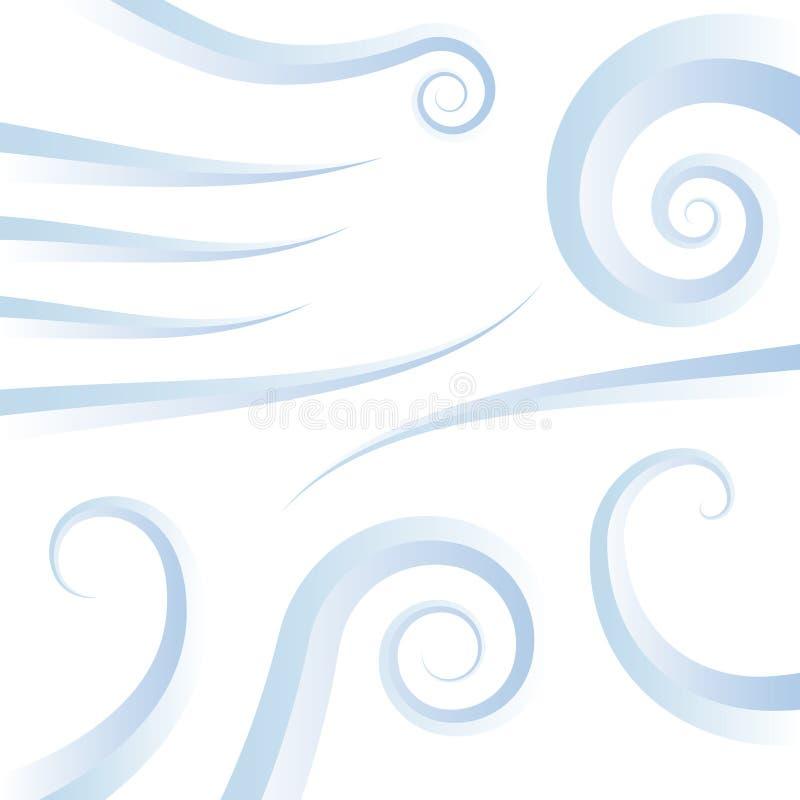 Iconos del remolino del viento stock de ilustración