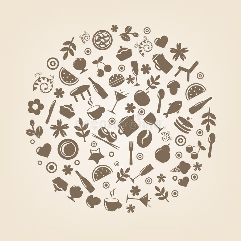 Iconos del restaurante en la forma de esfera stock de ilustración