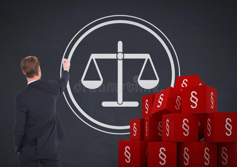 iconos del símbolo de la sección 3D y escalas de la balanza de la justicia del dibujo del hombre de negocios fotografía de archivo