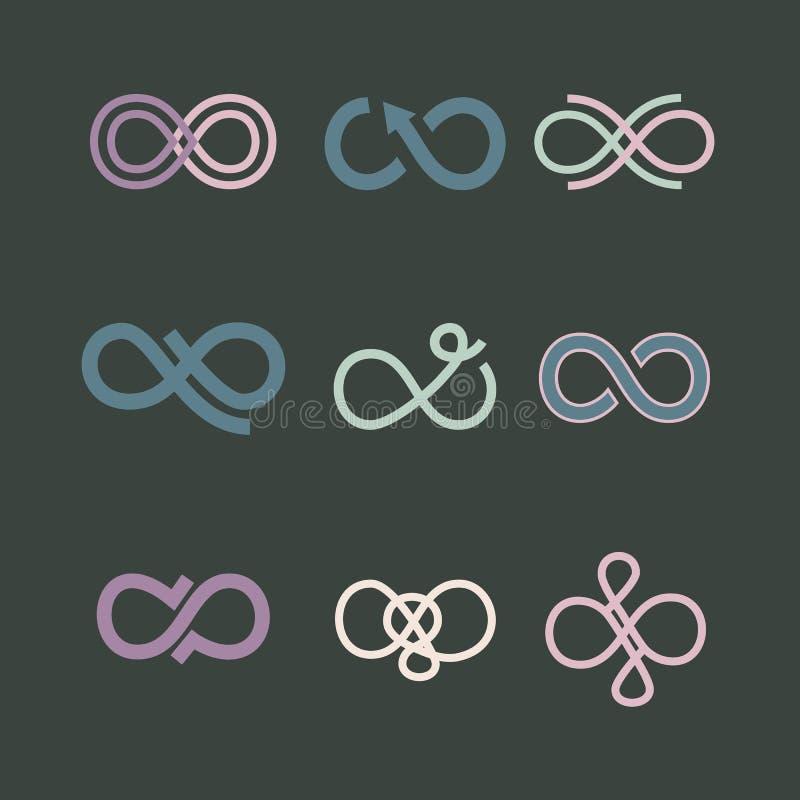 Iconos del símbolo del infinito fijados Ilustración del vector stock de ilustración
