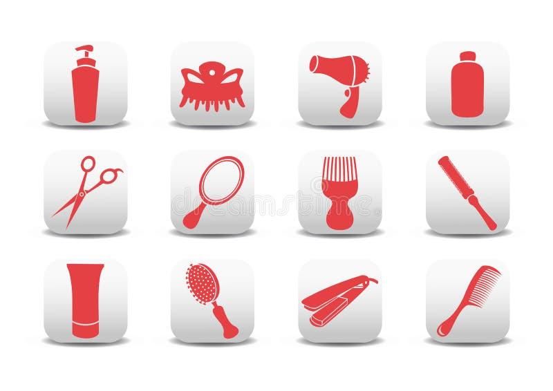 Iconos del salón de la peluquería ilustración del vector