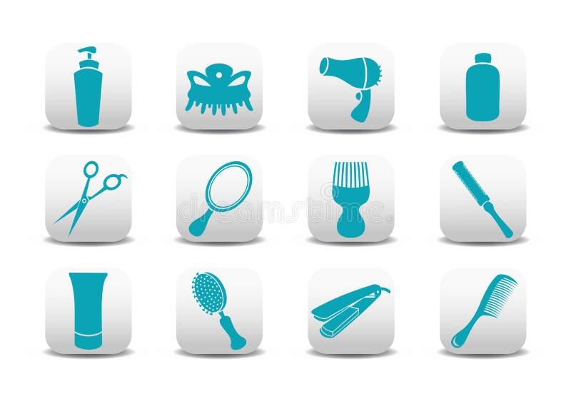 Iconos del salón de la peluquería stock de ilustración
