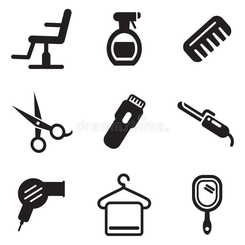 Iconos del salón de pelo stock de ilustración