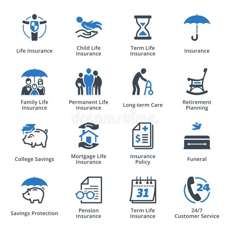 Iconos del seguro de vida - serie azul stock de ilustración