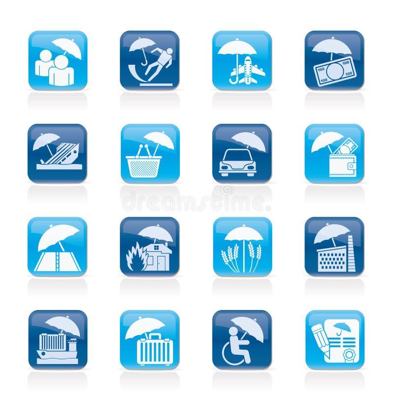 Iconos del seguro, del riesgo y del negocio libre illustration