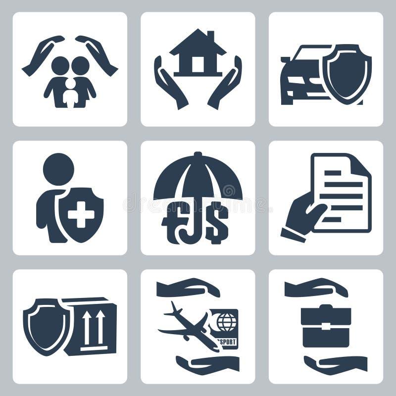 Iconos del seguro del vector fijados ilustración del vector