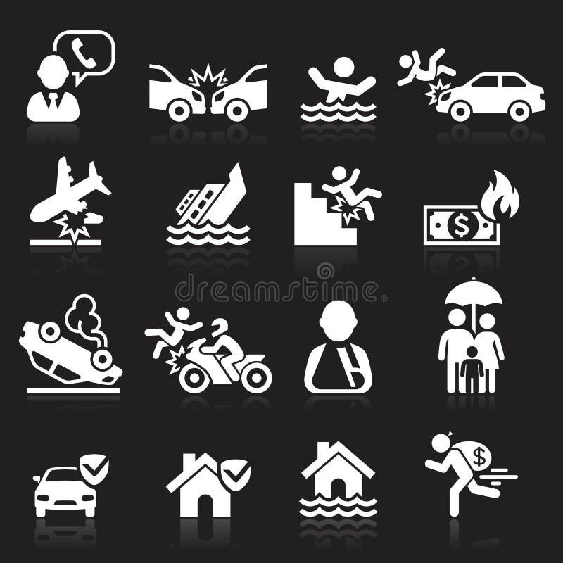 Iconos del seguro fijados ilustración del vector