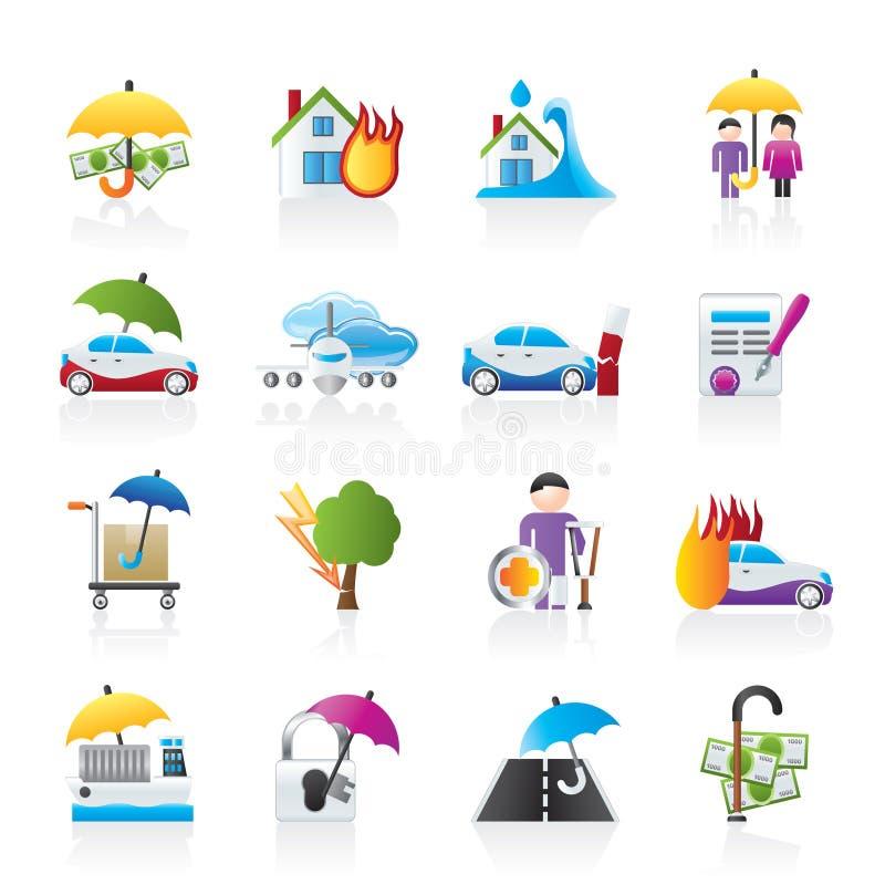 Iconos del seguro y del riesgo stock de ilustración