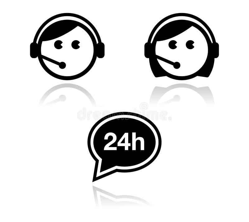 Iconos del servicio de atención al cliente fijados - agentes del centro de atención telefónica ilustración del vector