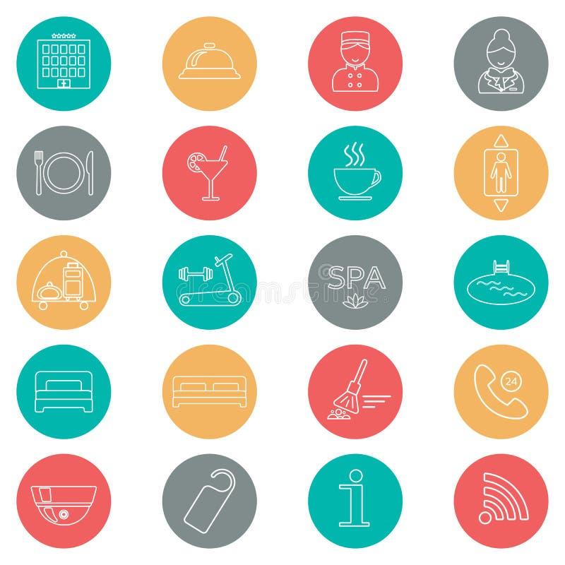 Iconos del servicio de hotel Línea fina icono Glyph del hotel Botón colorido Vector libre illustration