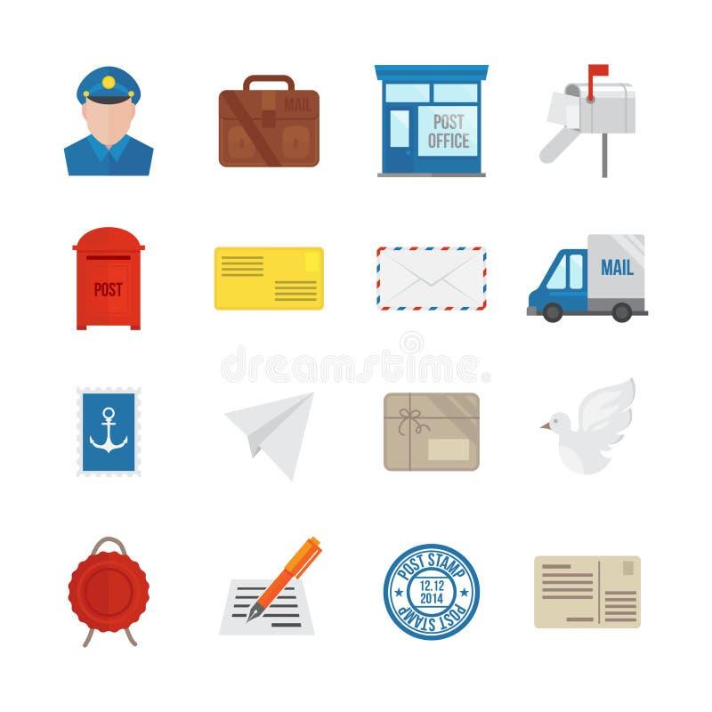 Iconos del servicio de los posts planos ilustración del vector