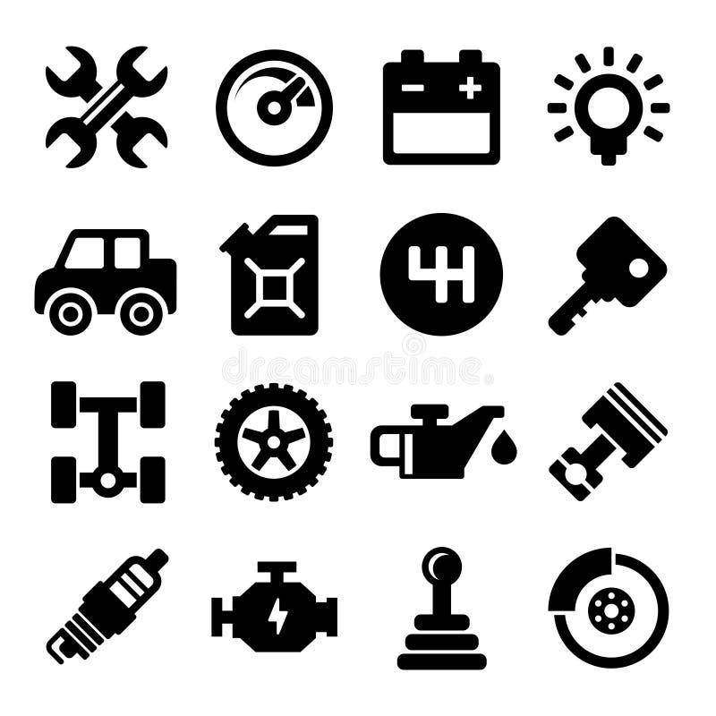 Iconos del servicio de reparación auto stock de ilustración