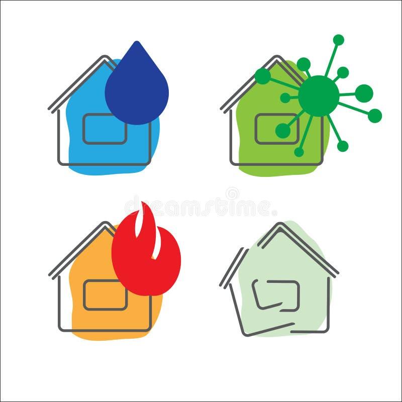Iconos del servicio de seguro de la casa Ilustración del vector conjunto fotografía de archivo