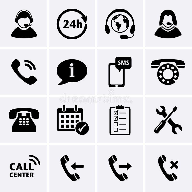 Iconos del servicio del centro de atención telefónica ilustración del vector