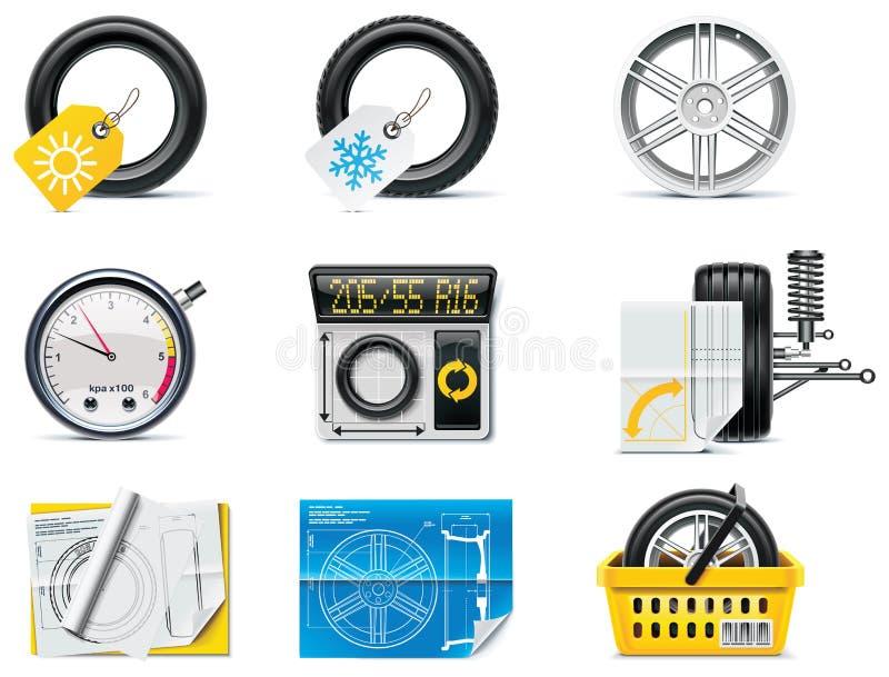Iconos del servicio del coche. Neumáticos de la parte 1. stock de ilustración