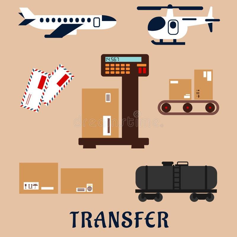 Iconos del servicio del transporte de mercancías por ferrocarril del aire y ilustración del vector