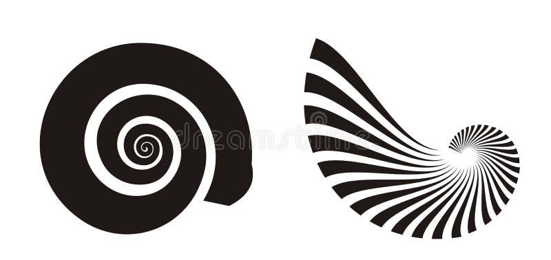Iconos del shell del mar ilustración del vector