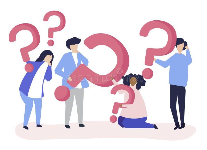 Iconos del signo de interrogación de la tenencia del grupo de personas libre illustration