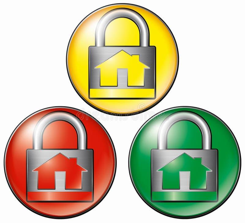 Iconos del sistema de seguridad stock de ilustración