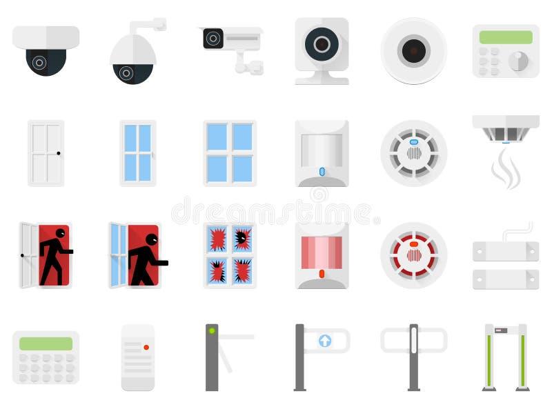 Iconos del sistema de seguridad de cámaras de vídeo, detectores, torniquetes, control de acceso Ilustración de material vectorial libre illustration