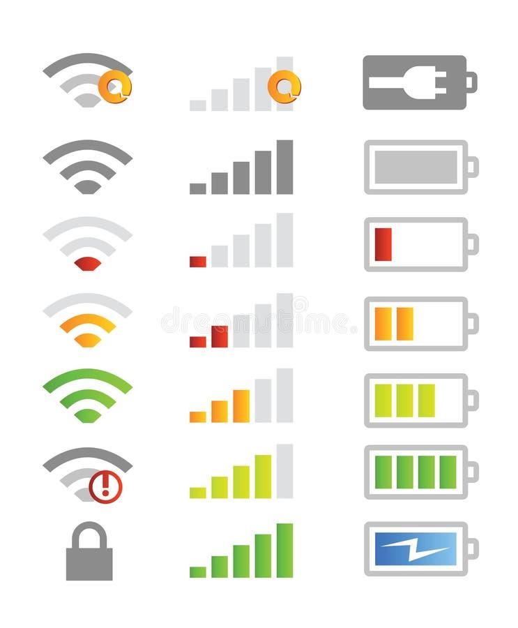 Iconos del sistema de teléfono móvil stock de ilustración