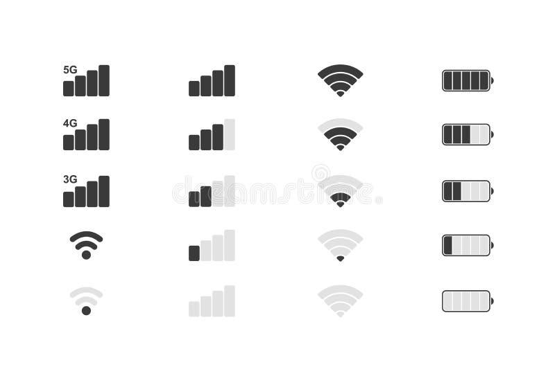 Iconos del sistema de teléfono móvil Fuerza de señal de Wifi, nivel de la carga de la batería Ilustración del vector ilustración del vector