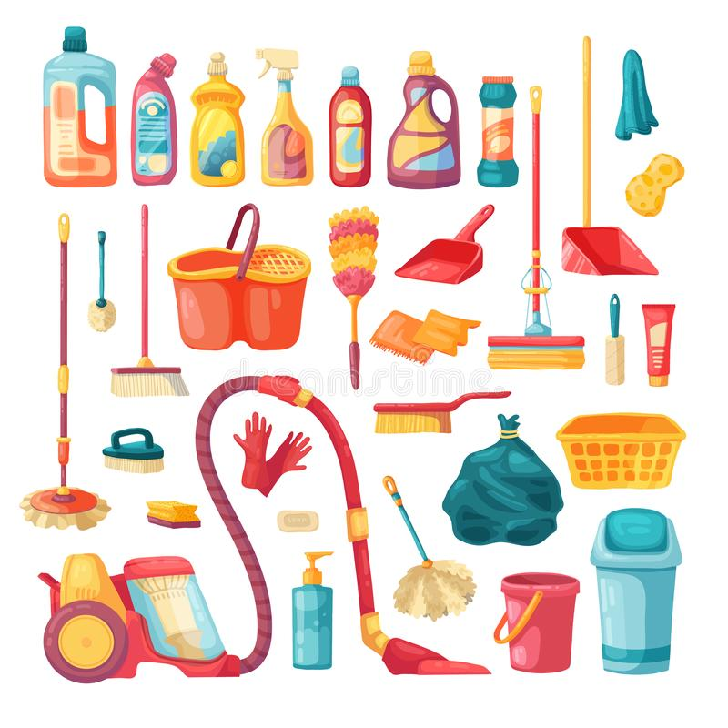 Iconos del sistema del hogar y de las fuentes de limpieza Ejemplo del vector de la historieta con los productos de limpieza, sust ilustración del vector