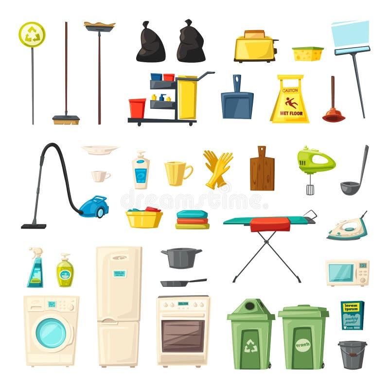 Iconos del sistema del hogar y de las fuentes de limpieza Ilustración del vector de la historieta ilustración del vector