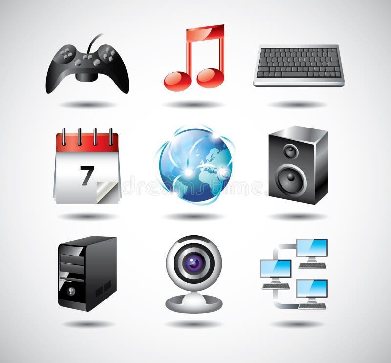 Iconos del sistema informático ilustración del vector