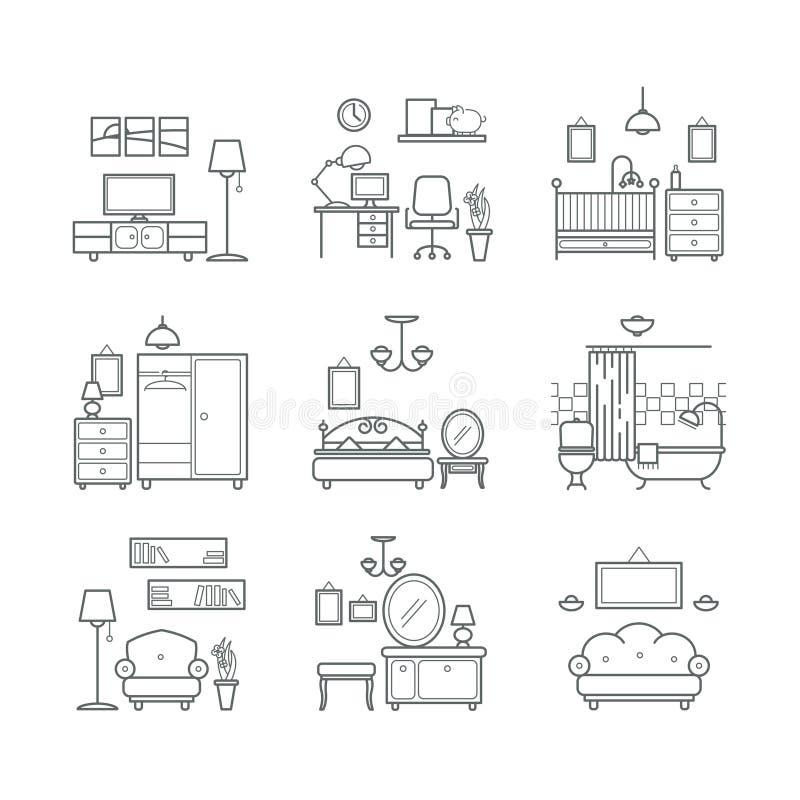 Iconos del sitio casero fijados Tipos del sitio de diseño interior Sala de estar, dormitorio, cuarto de baño, espacio de trabajo ilustración del vector