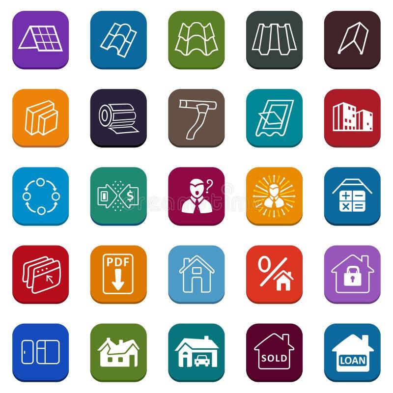Iconos del sitio de los materiales de construcciones de la venta (tejado, fachada) fijados ilustración del vector