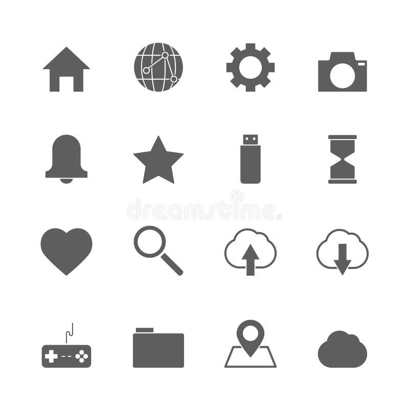 Iconos del sitio web fijados stock de ilustración