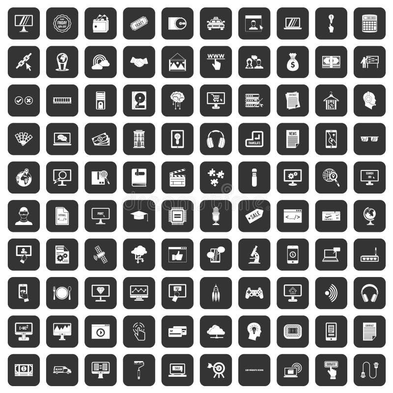 100 iconos del sitio web fijados negros stock de ilustración
