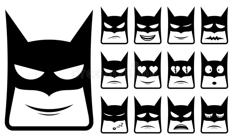 Iconos del smiley de Batman stock de ilustración
