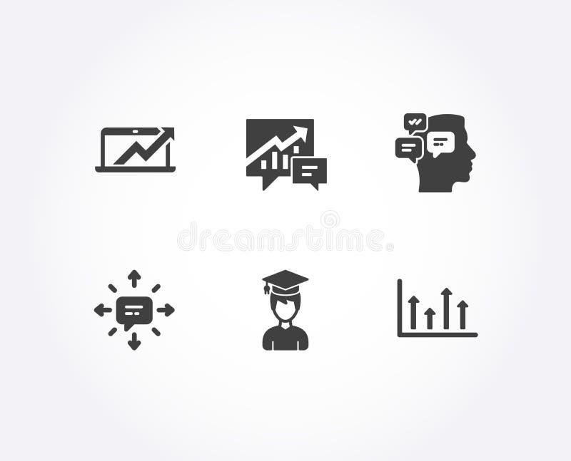 Iconos del SMS, de los mensajes y de la contabilidad Las ventas diagram, estudiante y las muestras superiores de las flechas ilustración del vector