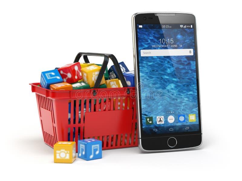 Iconos del software de aplicación del teléfono móvil en la cesta de compras libre illustration