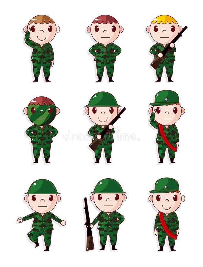 Iconos del soldado de la historieta fijados libre illustration