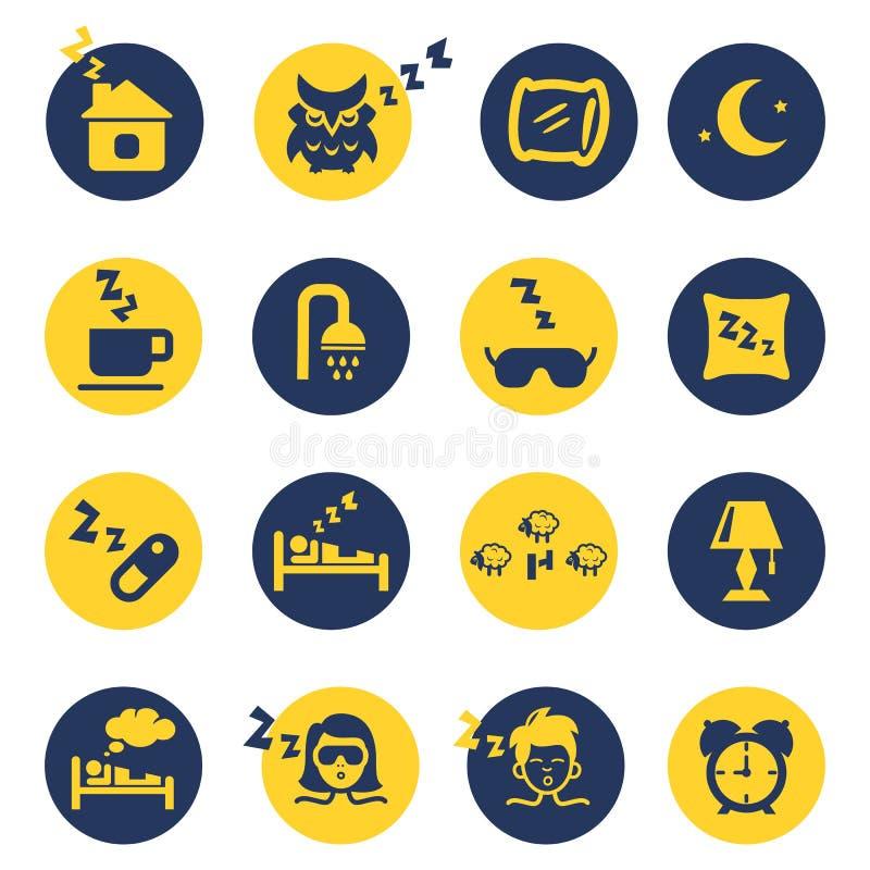 Iconos del sueño y del insomnio ilustración del vector