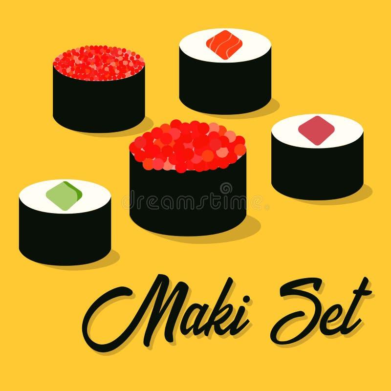 Iconos del sushi fijados Alimento asi?tico Comida plana del estilo libre illustration