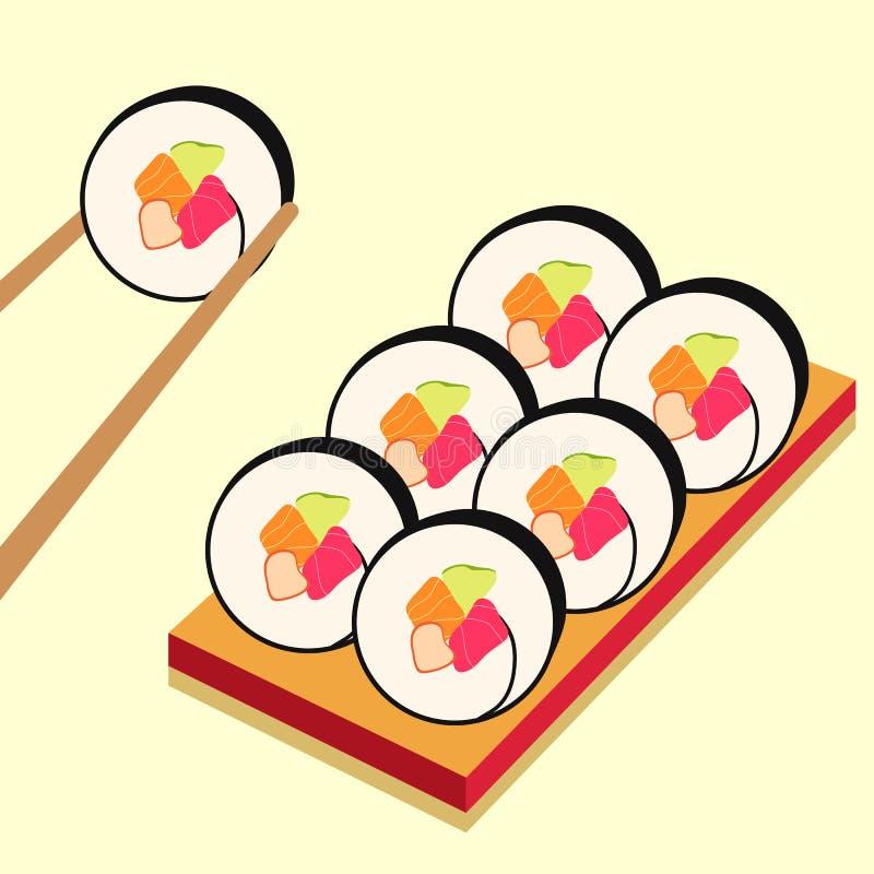 Iconos del sushi fijados Alimento asi?tico Comida plana del estilo fotos de archivo libres de regalías